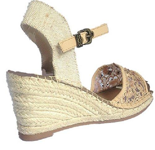 Femmes Sandales talon compensées escarpins bout ouvert chaussure strass 66-497 BEIGE