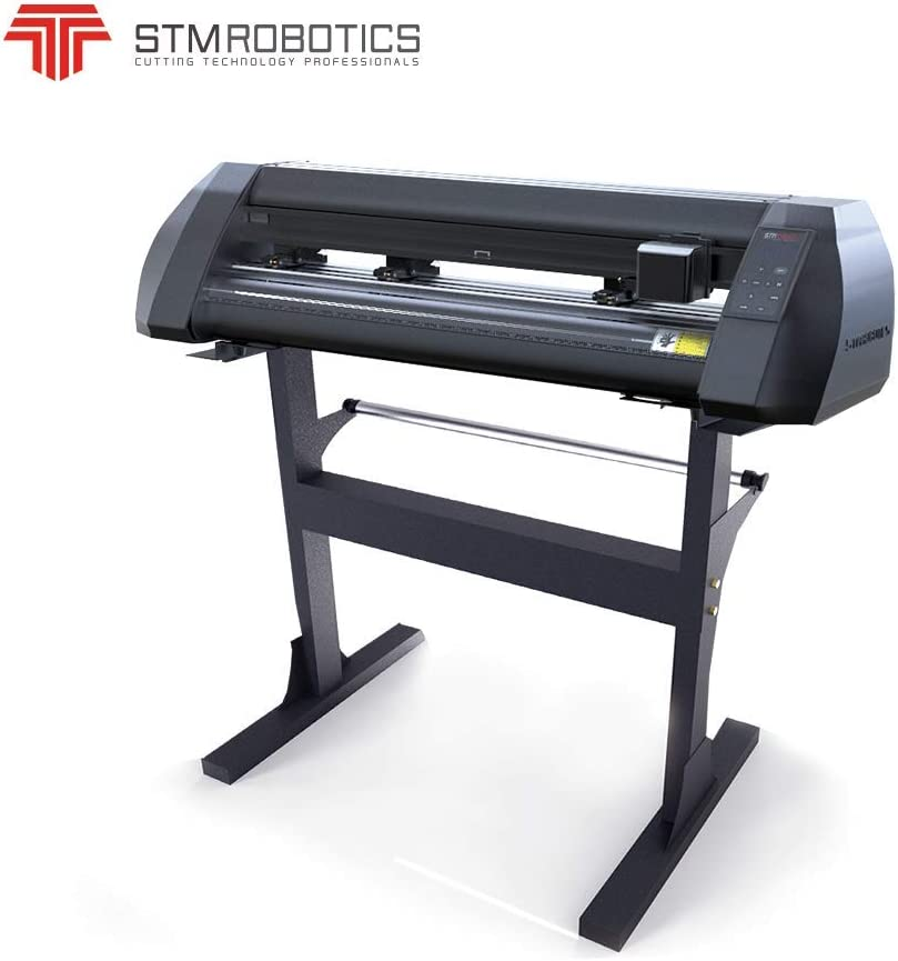 Plotter de corte de 24 pulgadas LCD pantalla de corte de contorno para pegatinas calcomanías vectorización automática modelo personalizado para corte de vinilo STM Robotics Design Pro software USB cuchillos de conexión