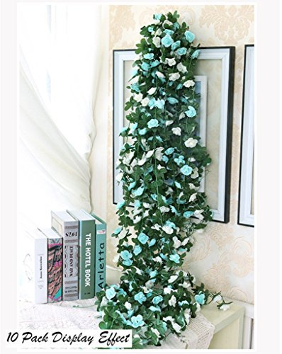 Meiliy 2 Pcs 8.2 FT Fake Rose Vine Flowers Plants Artificial Flower Home Hotel Office Wedding Party Garden Craft Art Decor, Blue