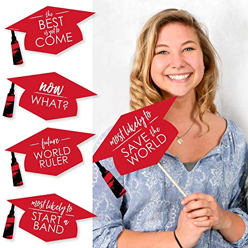 Big Dot of Happiness Hilarious Red Grad - Best is Yet to Come - Red Graduation Party Photo Booth Props Kit - 20 Count -