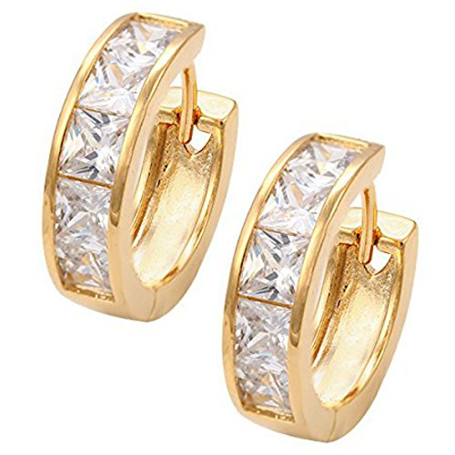 Gold Lucky Earrings Plated (Fashion 18k Gold Plated Cute Sparkling Crystals Earrings Princess Cut Lucky Charms Gold-Tone Style Hoop in Black Gift Box (Clear Crystals))