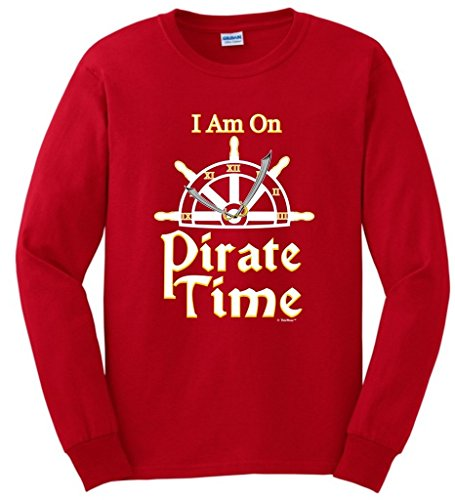 [Funny Sailing Gift I Am On Pirate Time Sailing Nautical Boating Long Sleeve T-Shirt Medium Red] (Authentic Pirate Coats)