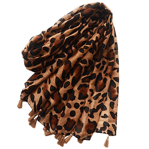 Afco Leopard Print Tassel Scarf Shawl Fashion Women Cotton Linen Travel Beach Towel Soft - Prints Linen Cotton Scarf