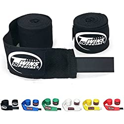Twins Special Muay Thai Boxing Cotton Handwraps CH-1 CH-2 Hand Wraps Color Black Blue Red White Green Yellow for Muay Thai, Boxing, Kickboxing, MMA (CH-1,Black)