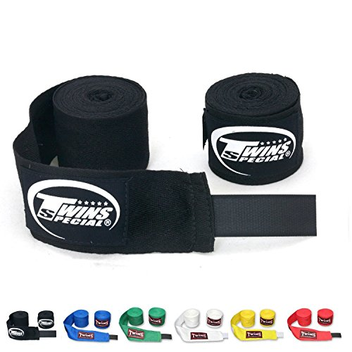 Twins Special Muay Thai Boxing Cotton Handwraps CH-1 CH-2 Hand Wraps Color Black Blue Red White Green Yellow for Muay Thai, Boxing, Kickboxing, MMA - Wrap Thai Cotton