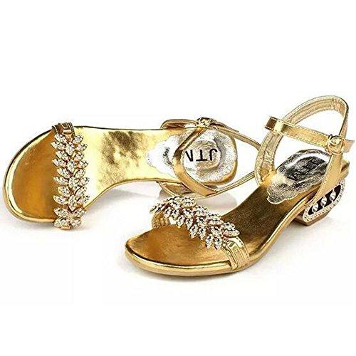 Sunavy Peep Donna Gold Scarpe Toe rBwq7rU85