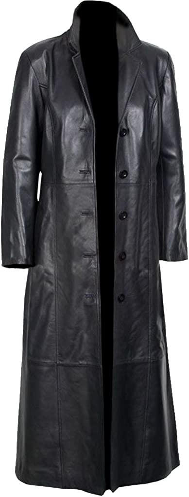 Sheepskin, Women's Long Coat Black Glossy Original Leather
