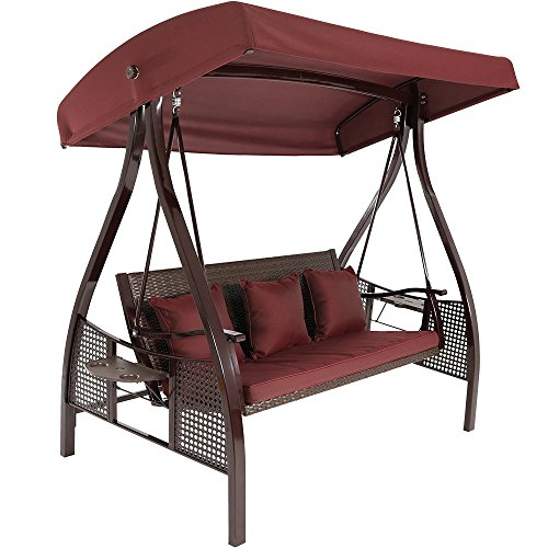 Sunnydaze 3-Seat Deluxe Outdoor Patio Swing with Heavy Duty Steel Frame and Canopy, Maroon Cushions Included