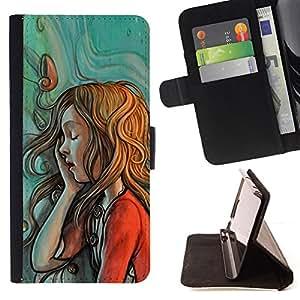 - Queen Pattern FOR Apple Iphone 5 / 5S /La identificaci????n del cr????dito ranuras para tarjetas tir????n de la caja Cartera de cuero cubie - painting sketch mint red green redh