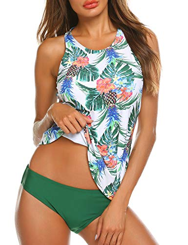 MAXMODA Two Piece Plus Size Backless High Neck Halter Floral Printed Top with Hipster Bottoms Tankini Set