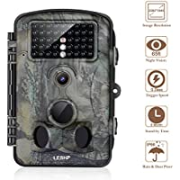 Trail Camera 12MP 1080P 2.4 LCD Game Hunting Camera w/ 42pcs IR LEDS 120° Wide Angle Infrared Night Vision up to 65ft, IP54 Spray Water Protection