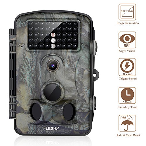 Trail Camera 12MP 1080P 2.4' LCD Game Hunting Camera w/ 42pcs IR LEDS 120° Wide Angle Infrared Night Vision up to 65ft, IP54 Spray Water Protection