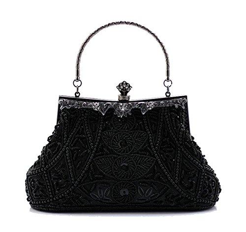 Handmade Black Vintage Wallet Handbag Bridal Bag Beaded Purse Seed Cocktail Handheld Wedding Evening Party Clutch 6UrqU7dwg