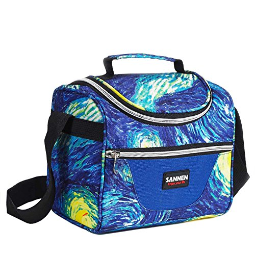 Lunch Bag for Kids Reusable Insulated Lunch Box Tote Bag for Girls Baby Men Women Front Pocket for Small Items Zipper Closure Handle Adjustable Shoulder Strap (Blue)