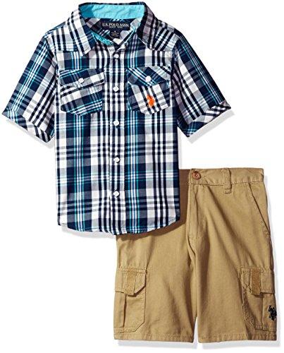 (U.S. Polo Assn. Boys' Little Woven Sport Shirt and Twill Cargo Short, Plaid 6)