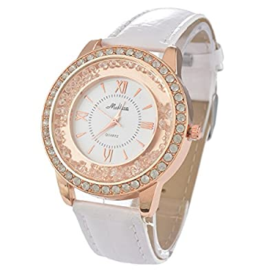 Souarts Womens Artificial Leather Quicksand Rhinestone Quartz Wrist Watch White