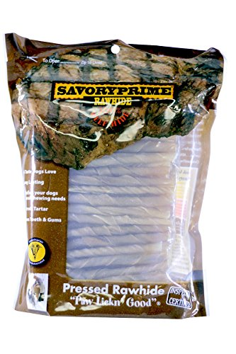 Savory Prime Rawhide 100% Beef Hide Natural Twist Sticks, 5 Inches