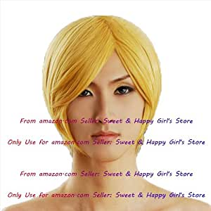 NEW Fashion Sexy short Yellow Blonde Straight Anime cosplay wigs party Masquerade girls wigs 30cm