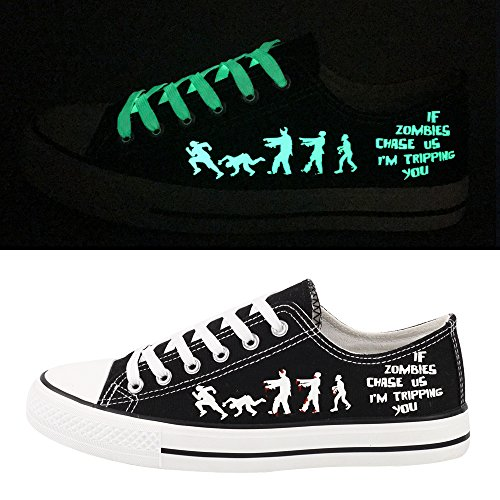E-LOV Black Luminous Zombies Printing Canvas Shoes Low Cut Sneakers Lace up Funny Casual Shoes Glow in Dark for Men Gift Idea by E-LOV