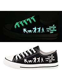 Black Luminous Zombies Printing Canvas Shoes Low Cut Sneakers Lace up Funny Casual Shoes Glow in Dark