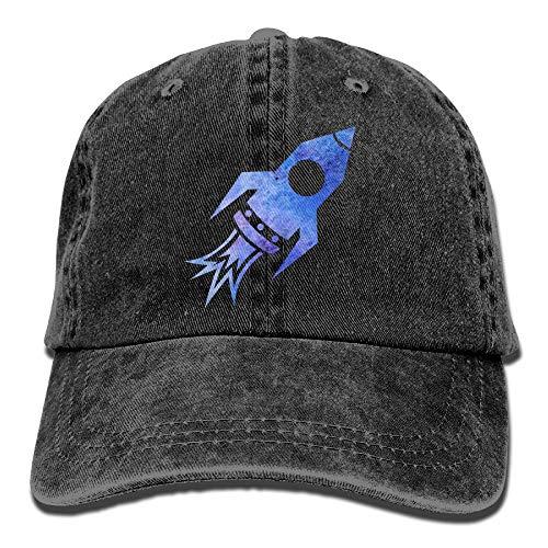 (Galaxy Rocket Ship Denim Hat Adjustable Unisex Cute Baseball Hats)