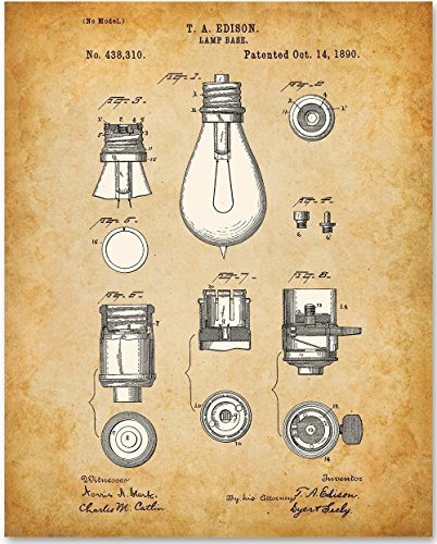 Edison Bulb Base Art Print - 11x14 Unframed Patent Print - Great Gift for Electricians and Engineers