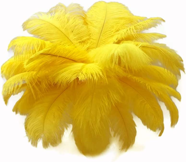 "10 Wing 18-24/"" Golden Yellow Huge Ostrich Plumes Centerpiece Feathers Halloween"