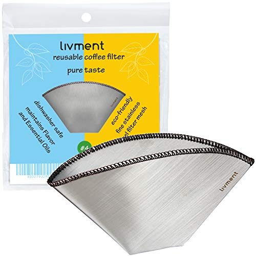 livment Reusable Coffee Filter - Stainless Steel Mesh Permanent Filter   Paperless Cone Shaped Filter for Coffee Machine, Pour Over and Hand Filter   Pure Taste (Size #4)