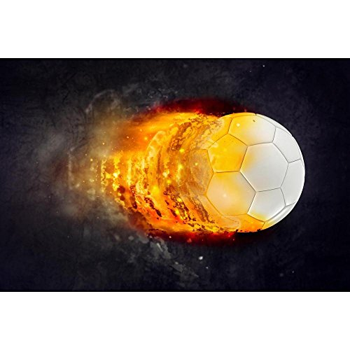 Pitaara Box Soccer Ball Burning In Flames Unframed Canvas Painting 35.9 x 24inch by Pitaara Box