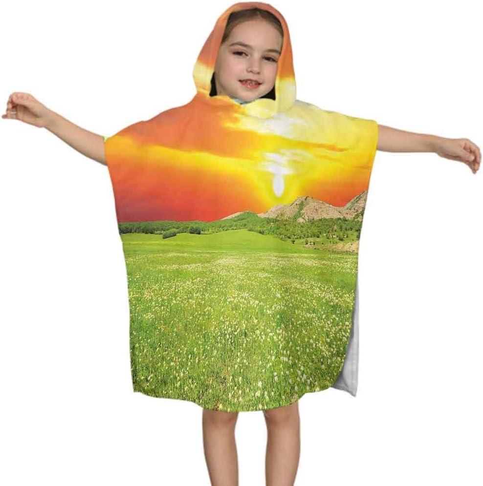 "Ahuimin Nature Kid Beach Towel, Daisy Flower Meadow Rural with Dramatic Horizon Sky Country Image, 24"" x 24"" Microfiber Bathrobe for Boys Girls 3-7 Years Poncho Cape"