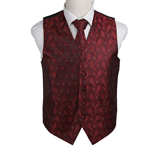 EGD1B08D-XL Dark Red Black Paisley Microfiber Dress Tuxedo Vest Neck Tie Set Contemporary For Wedding By Epoint