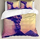 Volcano Queen Size Duvet Cover Set by Ambesonne, Dangerous Natural Activity in Anak Krakatau Indonesia Mountain with Smoke, Decorative 3 Piece Bedding Set with 2 Pillow Shams, Purple Coral Mustard
