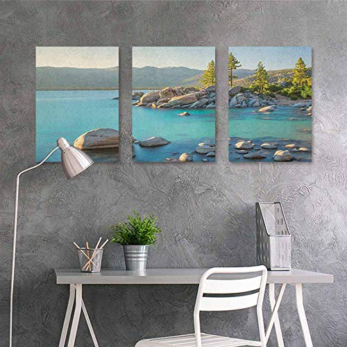 (HOMEDD Art Original Oil Painting Sticker,Lake Pastoral Spring Time Scenery in Provincial Countryside Lake Beach Shallow Water Theme,Office Art Decoration 3 Panels,24x47inchx3pcs Blue Grey)