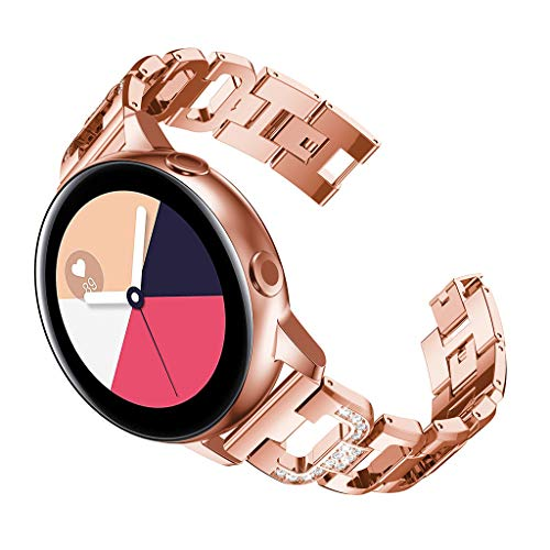 Fiaya for Samsung Galaxy Watch Active (40mm) Bands, 20mm Metal Luxury Alloy Crystal Rhinestone Bracelet Accessories Straps Wristband (Rose Gold)