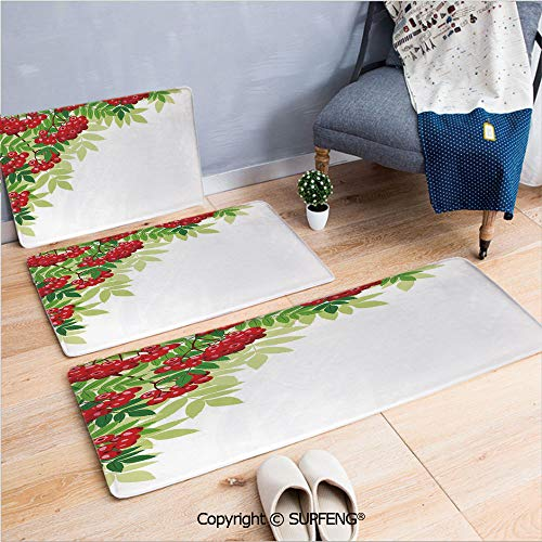 Bath Rug Rowan,Bunch of Ripe Berries with Fresh Green Leafage Corner Design,Red Lime Green Green Machine Wash and Dry
