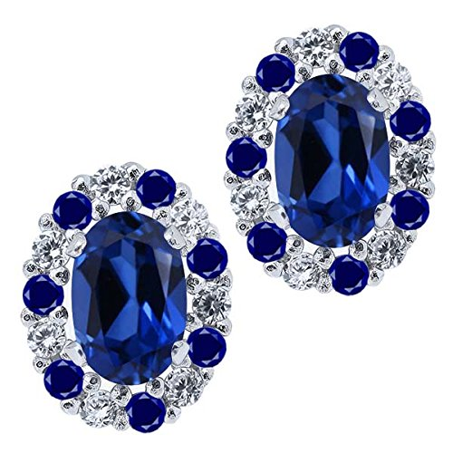 Gem Stone King 1.72 Ct Oval Blue Simulated Sapphire 925 Sterling Silver Earrings with Jackets