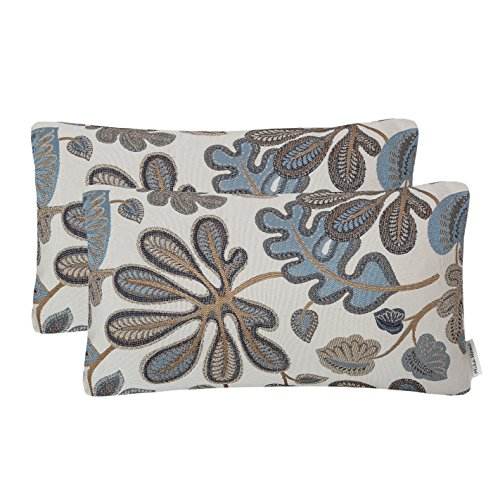 Set of 2 Mika Home Jacquard Tropical Leaf Pattern Oblong Throw Pillow Covers Accent Pillowcase 12X20 Inches,Blue Cream (Blue Bed Accent For Pillows)