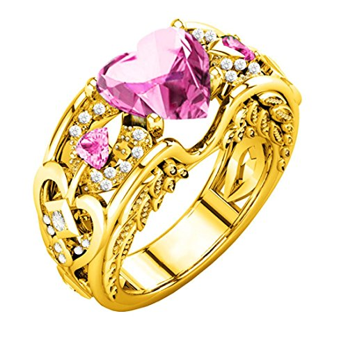 Clearance ! Ring , Ninasill Exclusive Fashion Natural Ruby Gemstones Birthstone Bride Wedding Engagement Heart Ring (7, Pink)