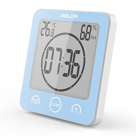FSHGZ LED Reloj Despertador Digital Con Ventosa, Termómetro, Higrómetro, Impermeable, Temporización, Super Gran Pantalla LED Reloj ...