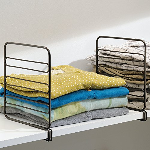 mDesign Wire Shelf Divider, Closet Organizer for Clothing Storage - Pack of 4, Bronze