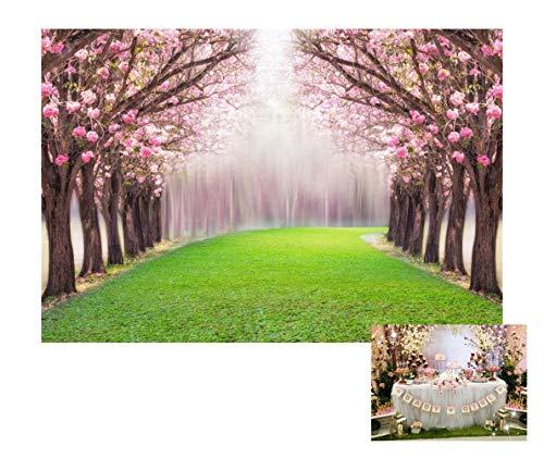 Leowefowa 10X8FT Cherry Blossom Backdrop Enchanted Garden Backdrops for Photography Forest Trees Green Grassland Wedding Ceremony Vinyl Photo Background Bride Lover Studio Props