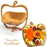 Dried Fruit Gift Basket - Healthy Gourmet Food - Apple Tray, Deluxe Multi-Functional Foldable Tray, Trivet and Fruit Basket - Christmas, Mothers & Father's Day Gifts Box - Birthday, Sympathy, Holiday,