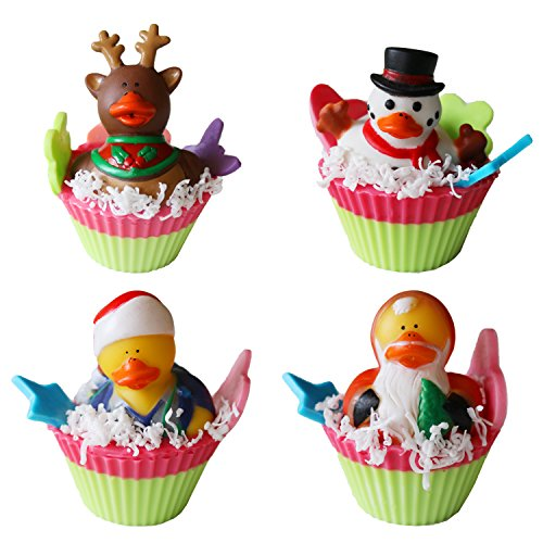 Colorful Affair Kids Creative Craft DIY Soap Cupcake Making Kit with Holiday Duckie Toys | Holiday Birthday Gifts | Arts and Crafts for Girls | Boys | Make 4 Colorful Holiday Bath Soaps (Making Cup Cakes)