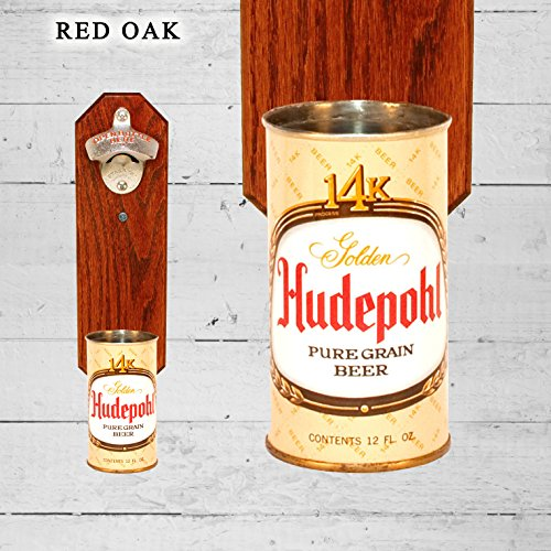 Wall Mounted Bottle Opener with Vintage Hudepohl 14k Beer Can Cap Catcher (Hudepohl Beer)