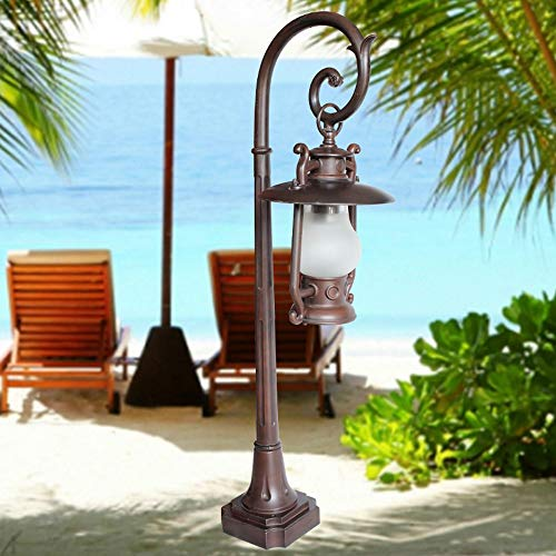 Hines Antique European Glass Outdoor Lawn Light Traditional Victoria Aluminum Waterproof Lantern Pillar Post Light Column Lamp for Villa Garden Patio Highway Decoration