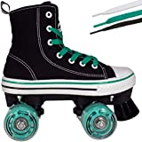 Roller Skates for Girls and Boys | Hype MVP Kid's Unisex Quad Roller Skates with High Top Shoe Style for Indoor / Outdoor
