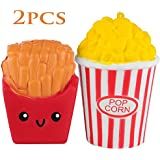 Trasfit 2 Pieces Slow Rising Squishies Popcorn, French Fries - Large Kawaii Squishy Charms Toys, Stress Relief Cute Toys, Home Decor