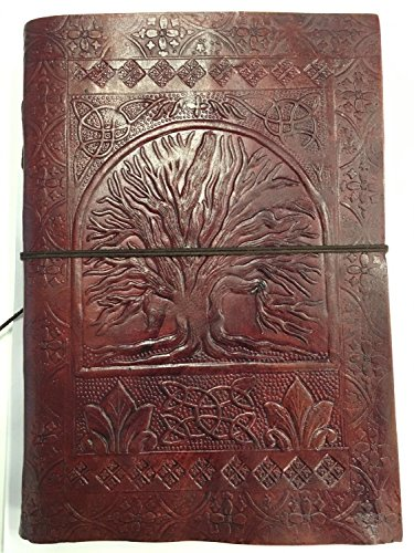 AVS STORE Leather life of the tree-shaped Brown Journal Sketch Notebook Scrapbook Personal Box handmade paper Traditional Photo Paper Book University …