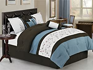 7 Pc Elegant Blue, White Embroidered Comforter Set / Bed in a Bag - Queen Size Bedding