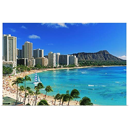 GREATBIGCANVAS Poster Print Entitled Palm Trees on The Beach, Diamond Head, Waikiki Beach, Oahu, Honolulu, Hawaii by Panoramic Images 18